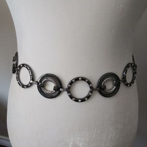 Chico's black silver metal chain belt rhinestones